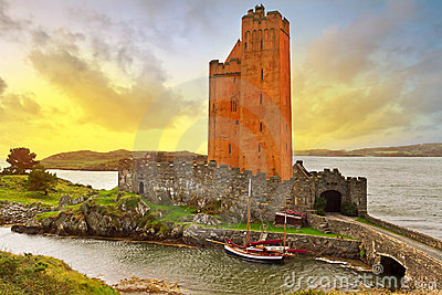 Kilcoe castle at sunset