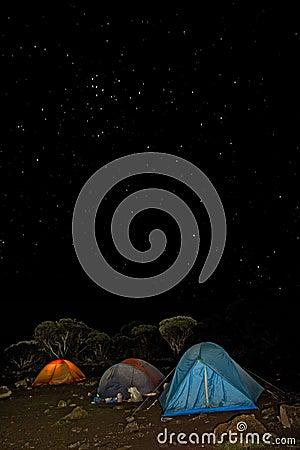 Kilimanjaro 008 shira hut camp tent night