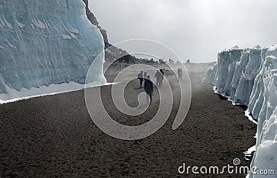 Kilimanjaro climbers in crater