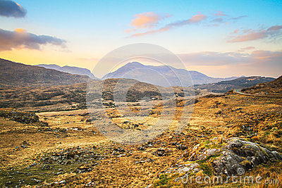 Killarney pass in county Kerry at sunset