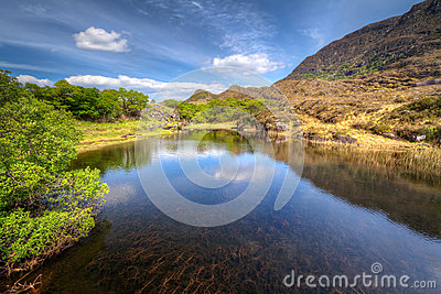 Killarney scenery with mountains reflected in lake