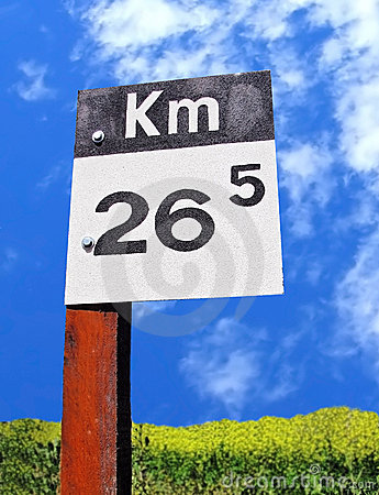 Kilometers sign post vertical