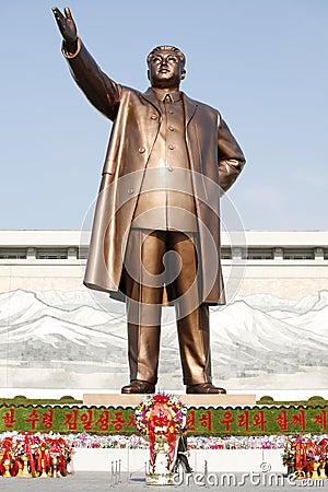 Kim Il Sung bronze statue Editorial Image