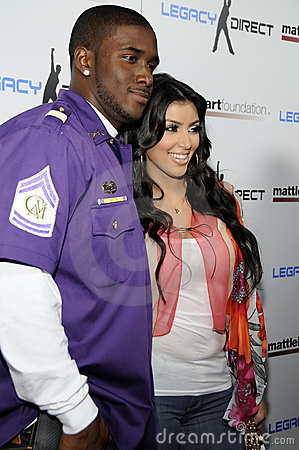 Kim Kardashian and Reggie Bush appearing live. Editorial Photo