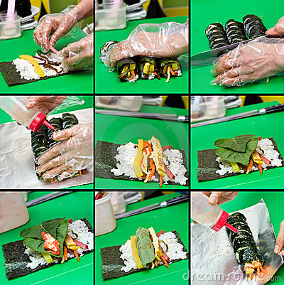 Kimbap making collage