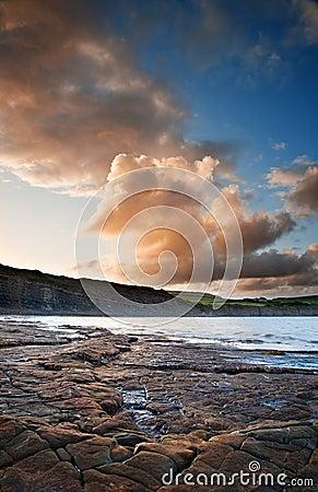 Kimmeridge Bay sunrise landscape, Dorset England