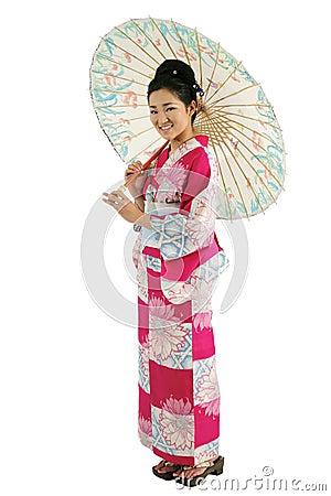 Free Kimono And Umbrella Girl Stock Photo - 5234600