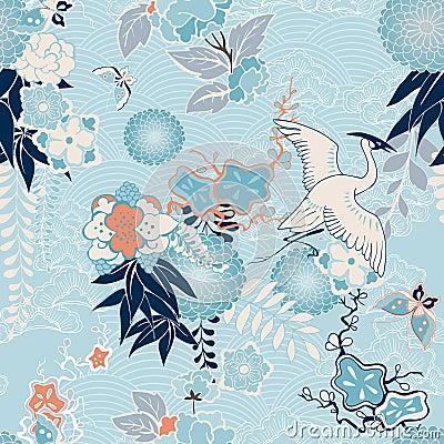 Free Kimono Background With Crane And Flowers Royalty Free Stock Photo - 36353305