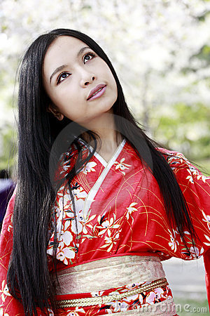 Kimono girl in spring