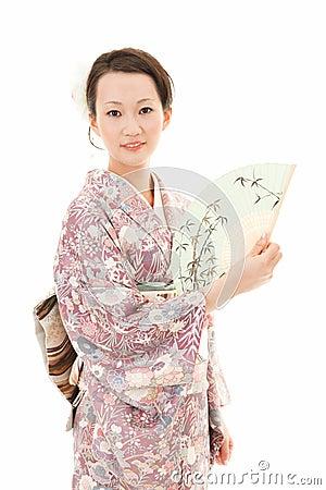 Kimono woman with fan
