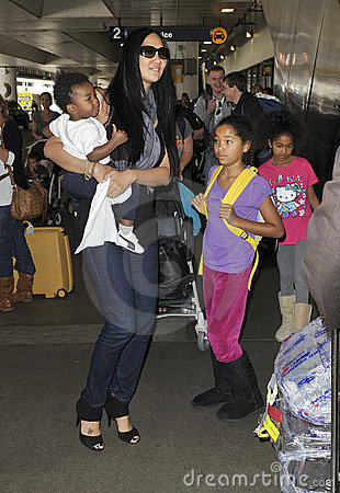 Kimora Lee Simmons with children at LAX Editorial Stock Image