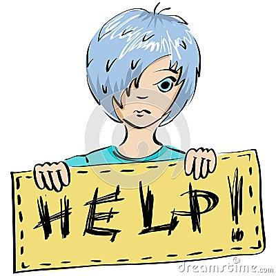 Kind bittet um Hilfe