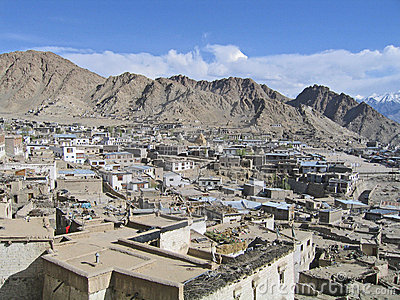 Kind on capital Leh and mountains surrounding it.