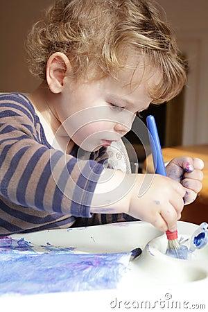 Kind het art van de tekening van de peuter stock afbeelding afbeelding 29039571 - Schilderen kind jongen ...