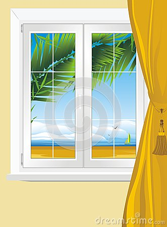 Kind of sea landscape from window