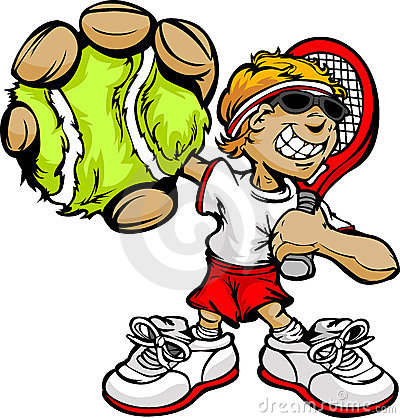 Kind-Tennis-Spieler-Holding-Schläger und Kugel