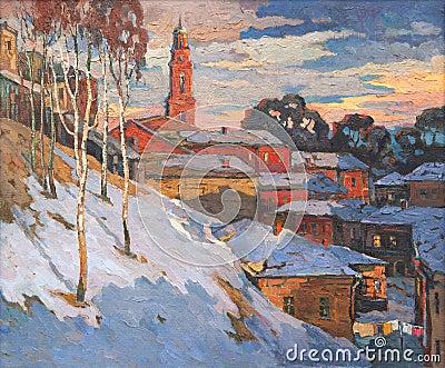 Kind on a winter city