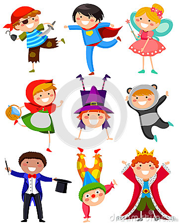 Kinder in den Kostümen
