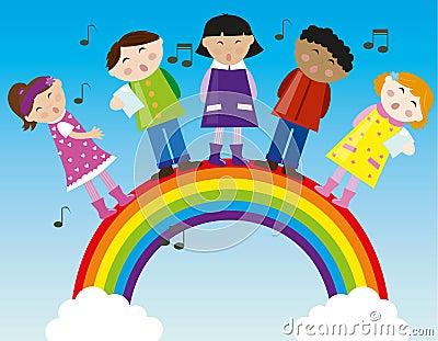 Kinder, die auf dem Regenbogen singen