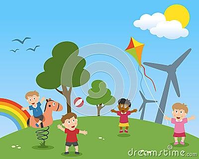 Kinder, die eine grüne Welt träumen