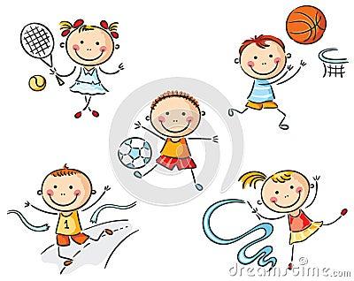 kinder die herein sport anstreben vektor abbildung bild