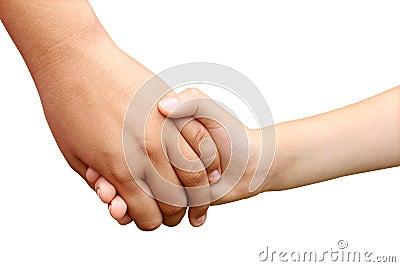 Kinder, die Hände anhalten