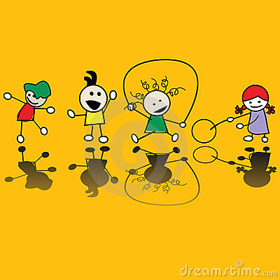 Kinder, die Spiele spielen