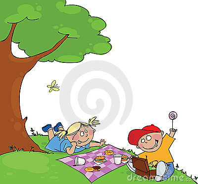 Kinder am Picknick