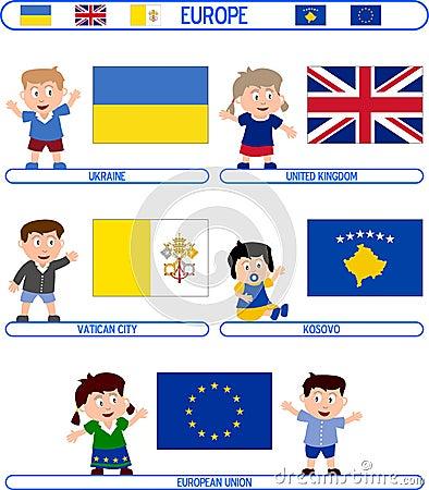 Kinder u. Markierungsfahnen - Europa [8]