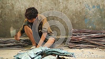 Kinderarbeid in Pakistan stock footage