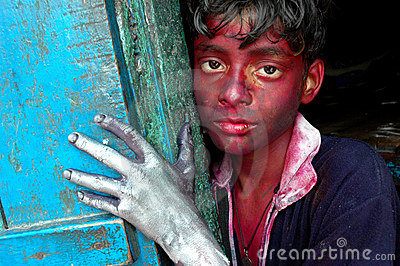 Kinderarbeit in Indien. Redaktionelles Stockbild