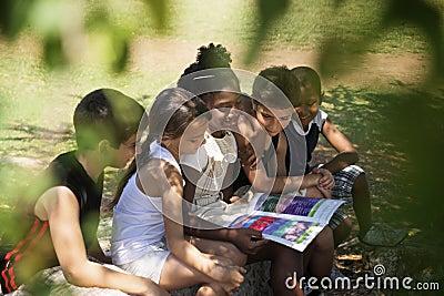 Kinderen en onderwijs, jonge geitjes en meisjes die boek in park lezen