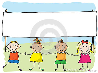 Kinderen met banner