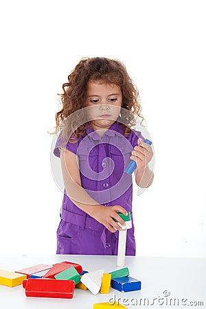 Kindergarten child playing