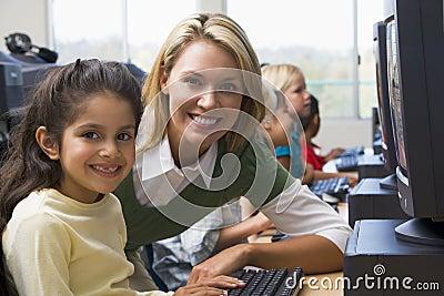 Kindergarten children learn how to use computers