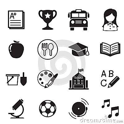 Free Kindergarten School Education Icons Vector Illustration Symbol Stock Photo - 72450050