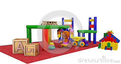 Kindergaten play toys on a red mat