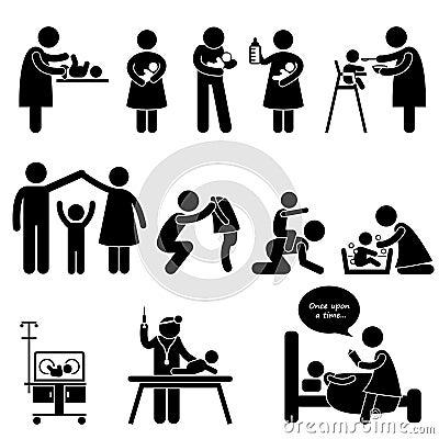 Kindermädchen-Muttervater-Schätzchen-Kinderbetreuung-Piktogramm
