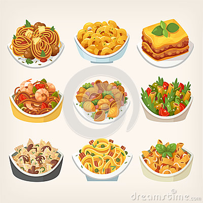 Free Kinds Of Pasta Dishes Royalty Free Stock Photos - 98864088