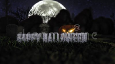 Kinematisk stenskrift 'Happy Halloween' på kyrkogården stock video