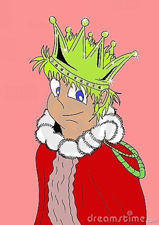 Isolated Happy young king in a cartoon version