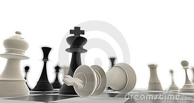 A king chess piece defeating another