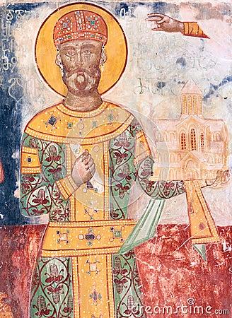 Free King David IV Builder XII Century Fresco In Gelati Monastery Stock Images - 80017664