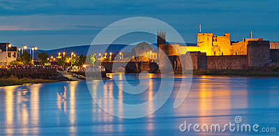 King John castle at dusk in Limerick city