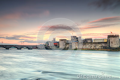 King John Castle at sunset in Limerick