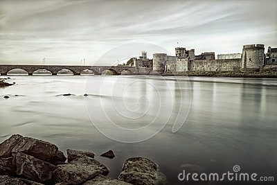 King John s Castle in Limerick, Ireland.B&w photo