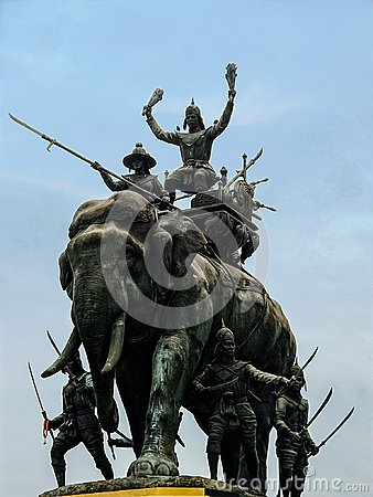 Free King Naresuan Triumph Over Myanmar In An Elephant War Monument Royalty Free Stock Photography - 120319157