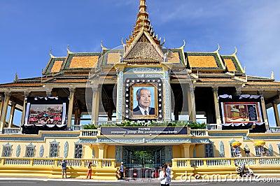 King Norodom Sihanouk memorial portrait Editorial Stock Image