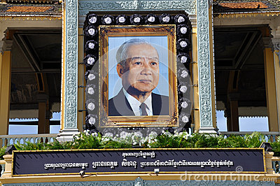 King Norodom Sihanouk memorial portrait Editorial Stock Photo