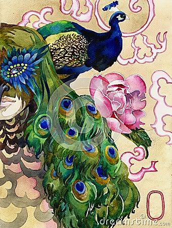 Free King Of Peacocks Watercolor Stock Photo - 27529350
